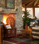 Cozy Fireplace in the Great Room of El Portal Sedona Hotel